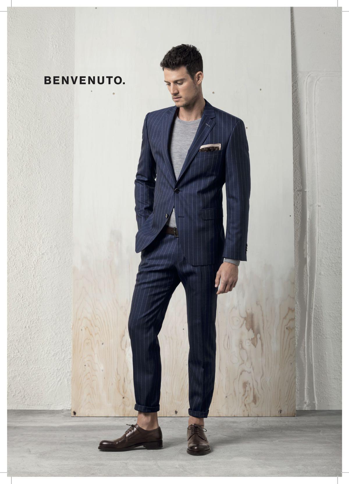 Herrenanzug blau gestreift von Benvenuto