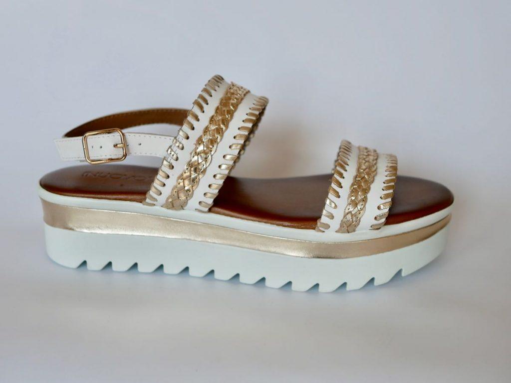 Inuovo Sandale Echtleder weiß gold 1
