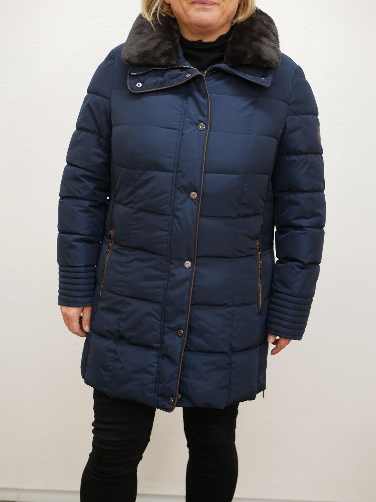 Damen Wintermantel mit Fell blau 1