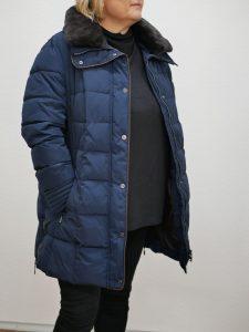 Damen Wintermantel mit Fell blau 2