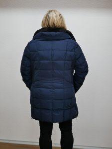 Damen Wintermantel mit Fell blau 3