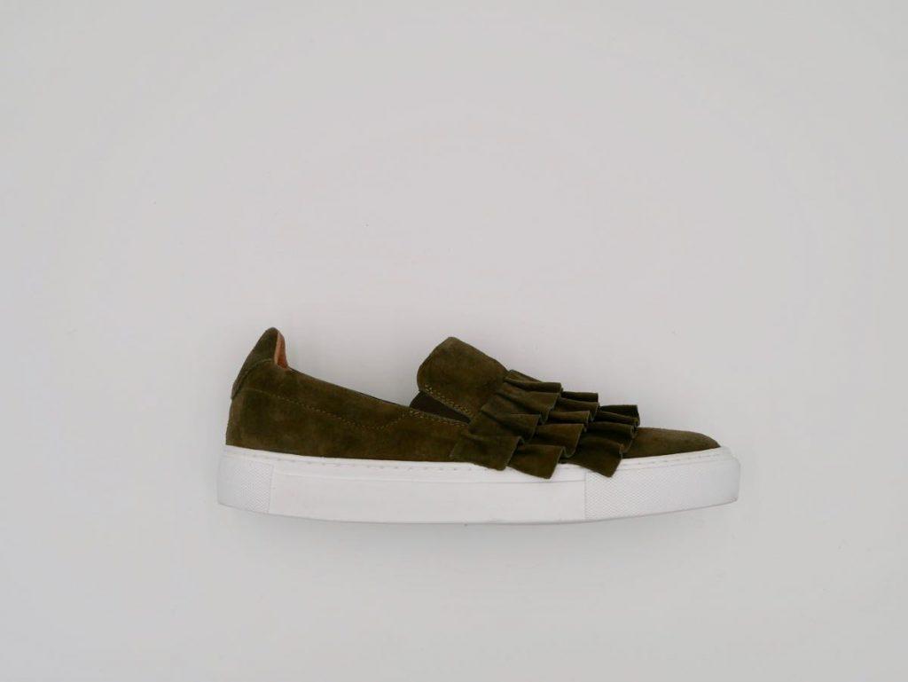 Velourleder Sneaker Damen khaki 8