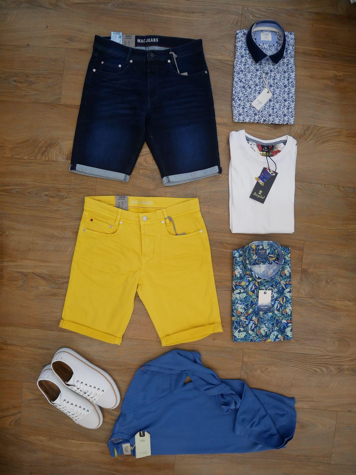 Herren Short Mac blau und gelb Olymp Hemd