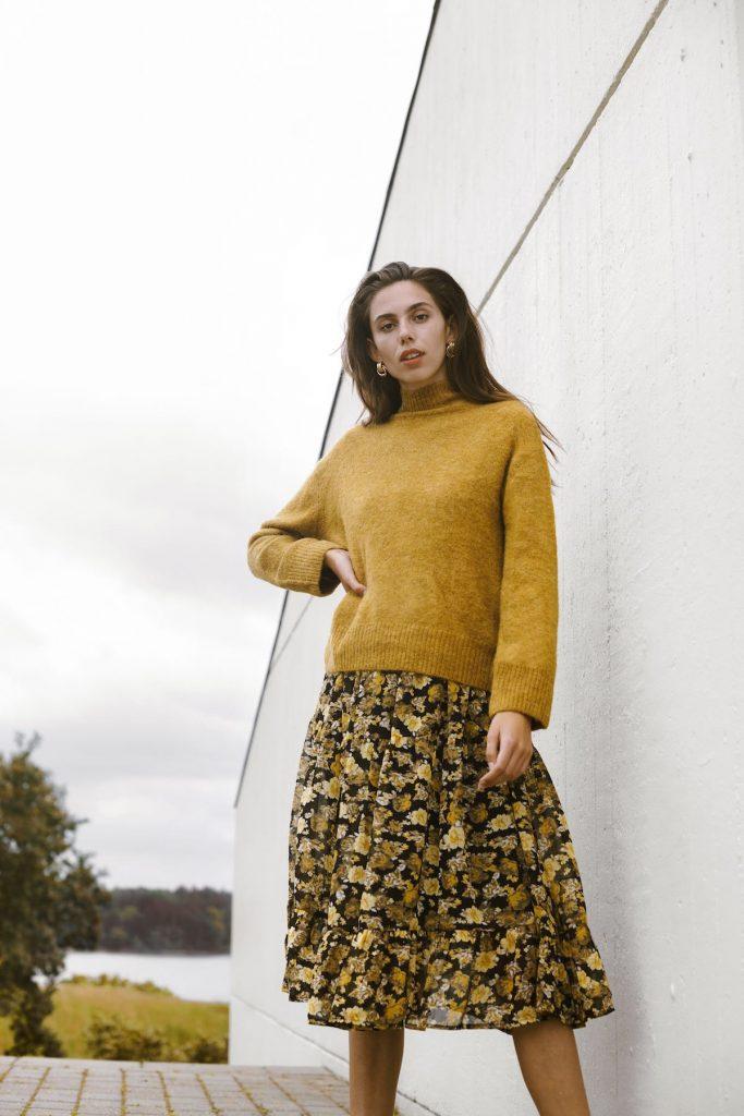 Ichi Pullover und Kleid gelb