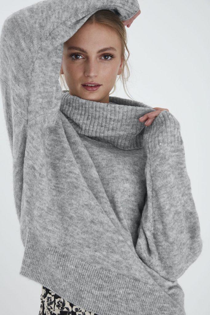 Ichi Wollpullover grau